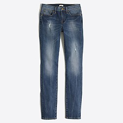 "Factory distressed stadium wash skinny jean with 28"" inseam"