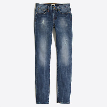 "Distressed stadium wash skinny jean with 28"" inseam"