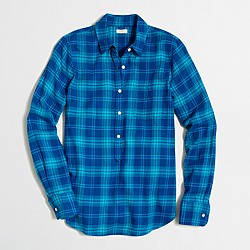 Factory lightweight flannel check popover shirt