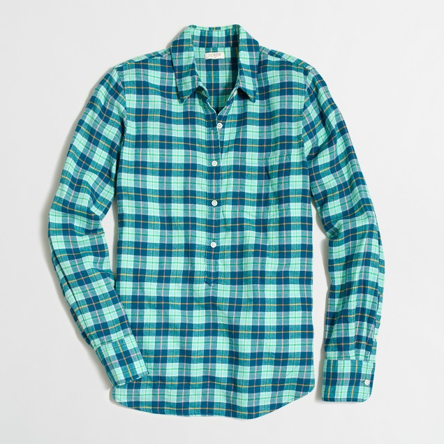 Lightweight flannel check popover shirt