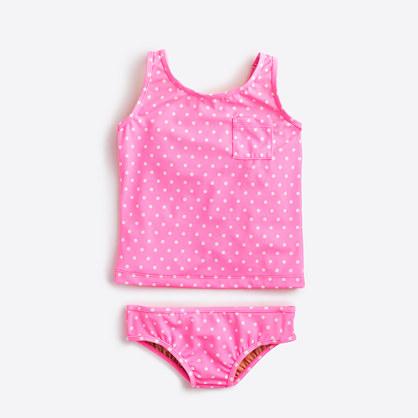 Girls' polka-dot tankini two-piece bikini set