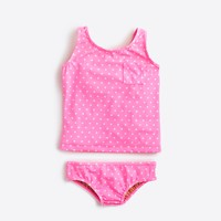 Girls' polka-dot tankini two-piece bikini set
