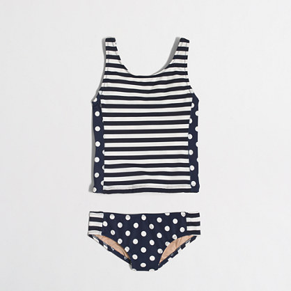 Girls' tankini set in stripes and dots