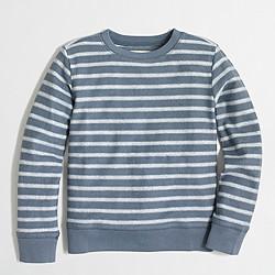 Boys' striped textured fleece crewneck sweatshirt