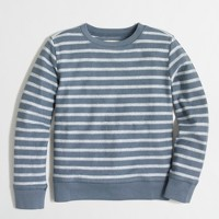 Boys' striped textured fleece crewneck sweatshirt