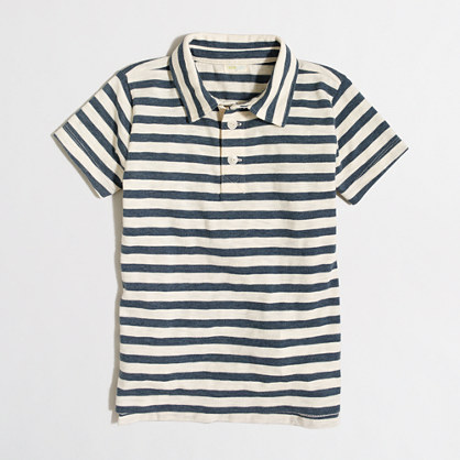 Boys' striped heathered polo shirt