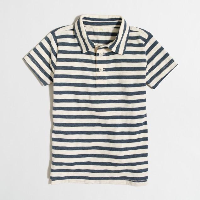 Boys' striped heathered polo shirt