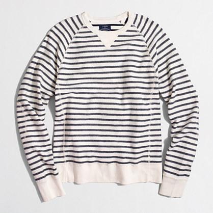 Striped textured fleece crewneck sweatshirt
