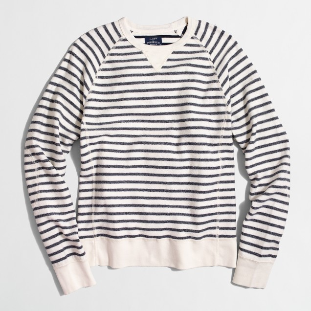 Striped textured fleece crewneck sweatshirt