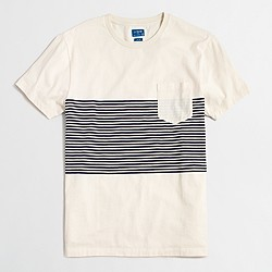 Factory slim placed-stripe T-shirt