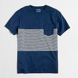 Factory slim placed-stripe T-shirt