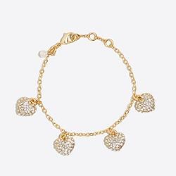 Girls' pavé heart charm bracelet