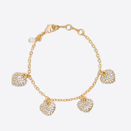 Girls' pavé heart charm bracelet
