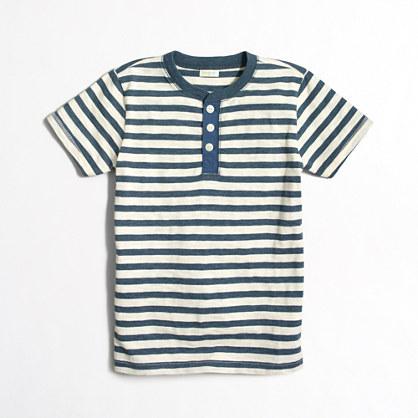 Boys' striped short-sleeve heathered henley