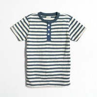 Boys' striped short-sleeve heathered henley