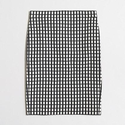 Pencil skirt in grid print