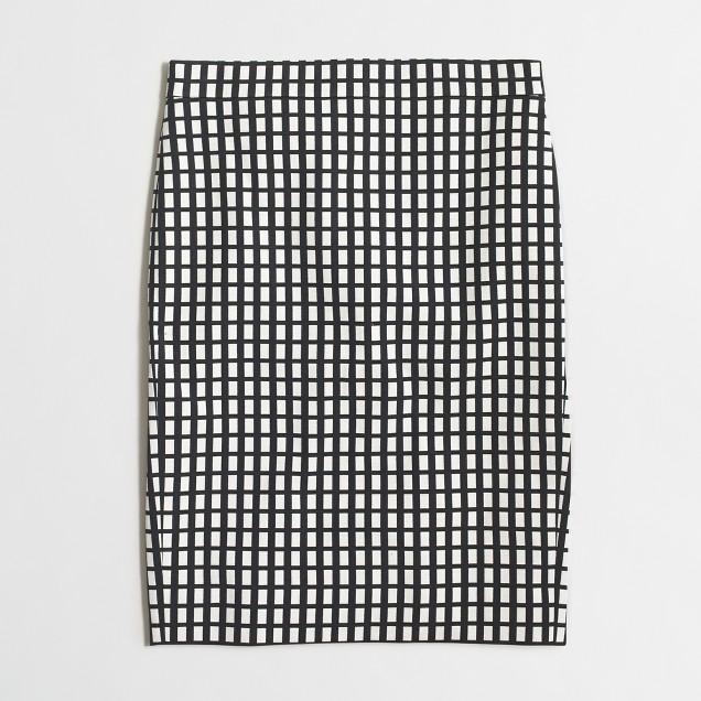 Petite pencil skirt in grid print