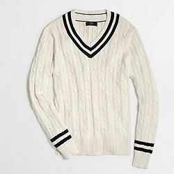 Factory slim cable-knit V-neck sweater