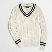 Slim cable-knit V-neck sweater