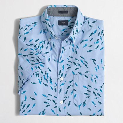 Slim short-sleeve printed shirt