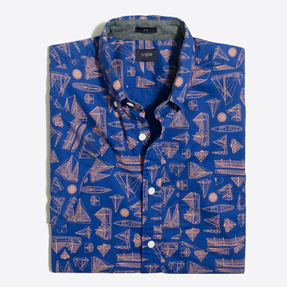 Slim short-sleeve printed shirt