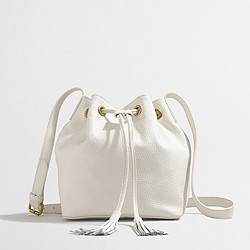 Factory leather bucket bag with tassels