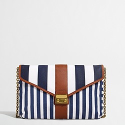 Factory striped canvas clutch