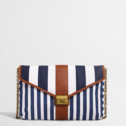Striped canvas clutch