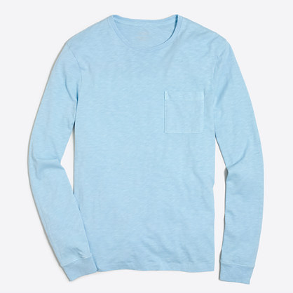 Tall long-sleeve sunwashed garment-dyed T-shirt