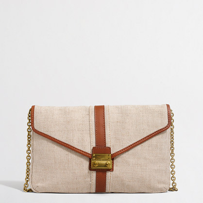Placed-stripe leather clutch