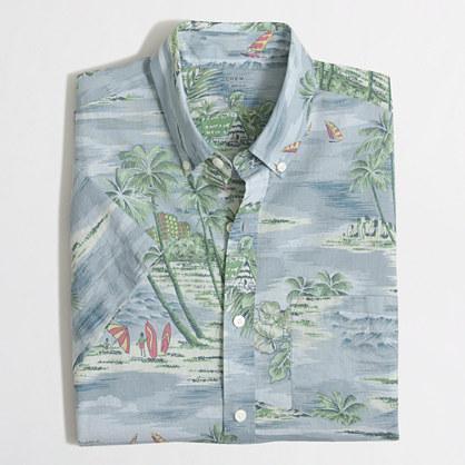 Slim short-sleeve printed lightweight chambray shirt
