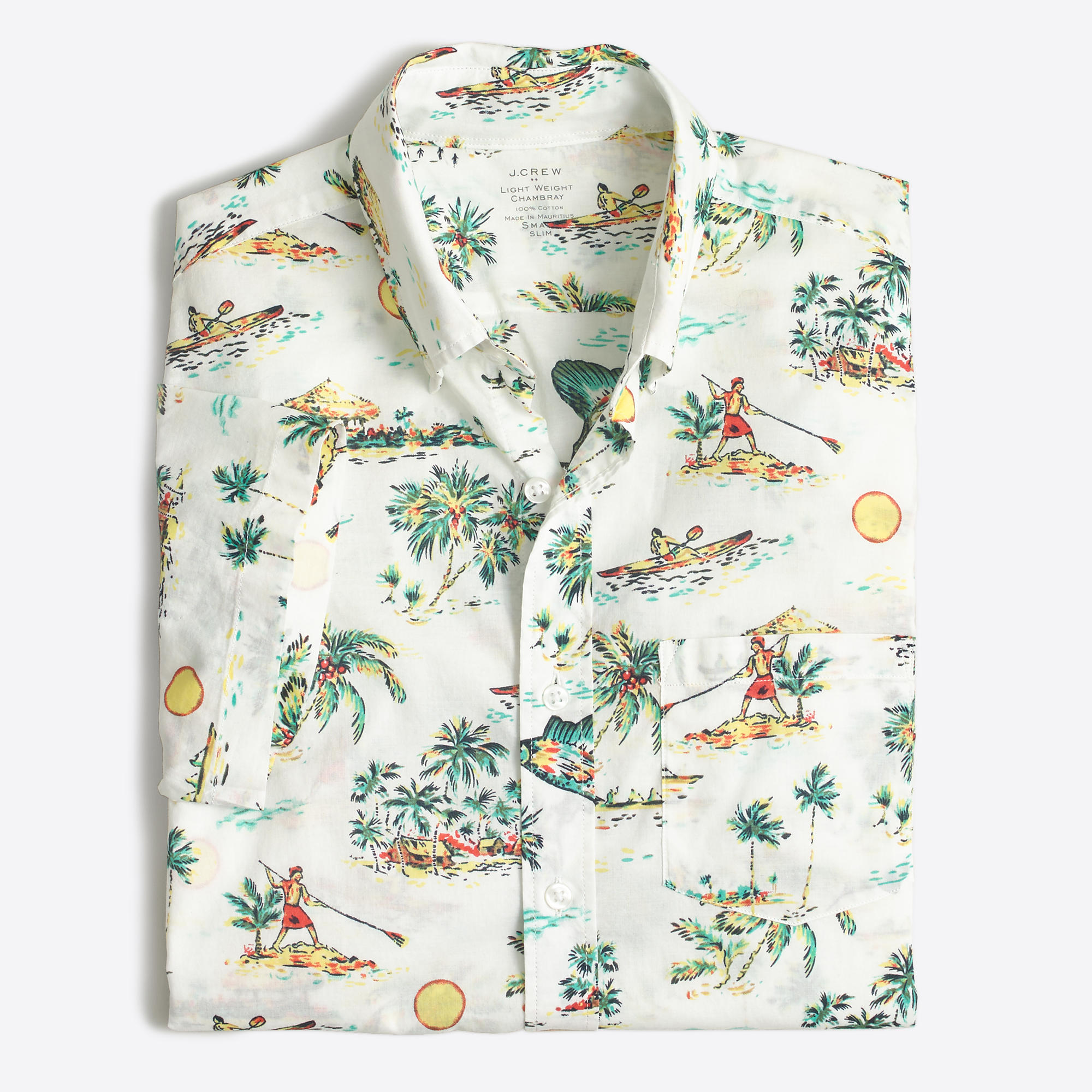 Slim short sleeve printed lightweight chambray shirt for Mens slim hawaiian shirt