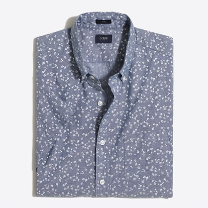 Slim short-sleeve printed lightweight chambray shirt