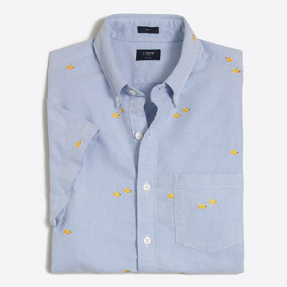 Slim short-sleeve embroidered oxford shirt