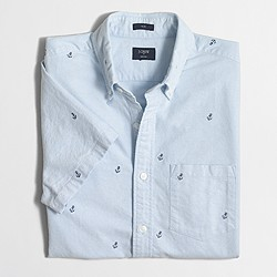 Factory slim short-sleeve embroidered oxford shirt