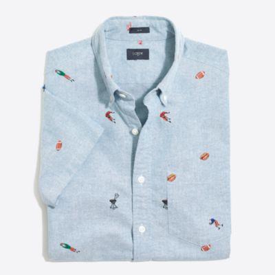 Slim short-sleeve printed oxford shirt