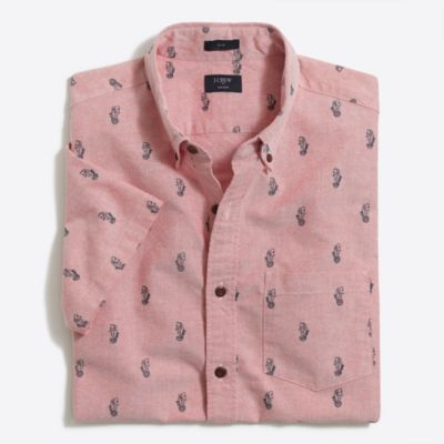 Slim short-sleeve printed oxford shirt