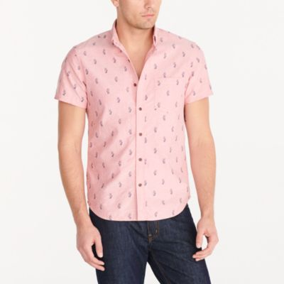 Slim short-sleeve printed oxford shirt factorymen new arrivals c
