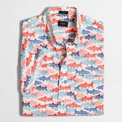 Slim short-sleeve lightweight printed shirt