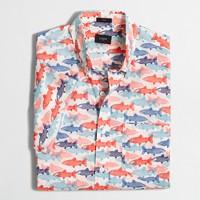 Slim short-sleeve lightweight printed shirt