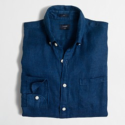 Factory slim linen shirt in houndstooth