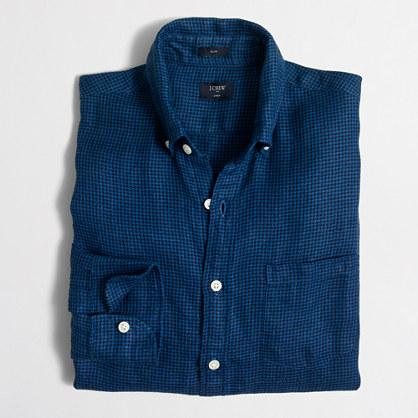 Slim linen shirt in houndstooth