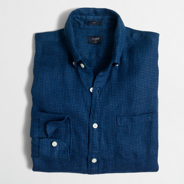 Slim linen shirt in houndstooth