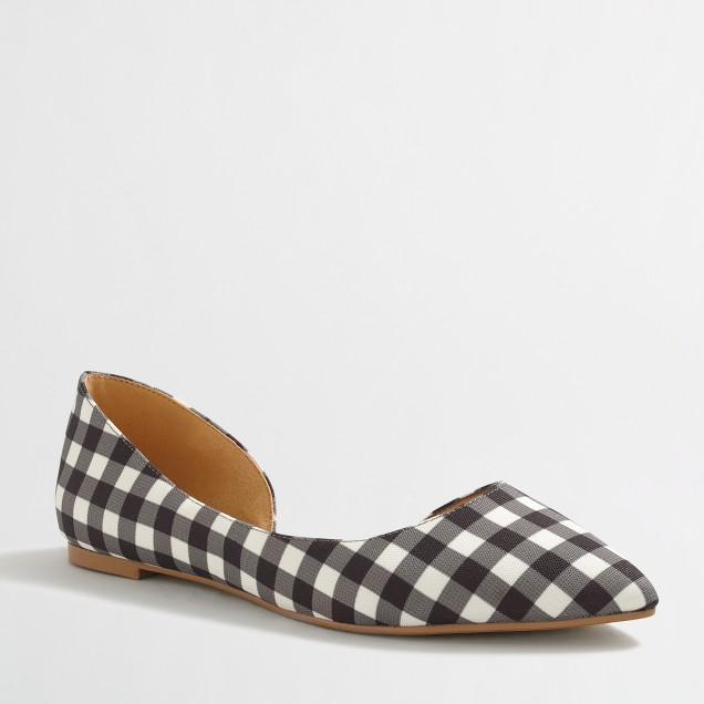 Classic d'Orsay flats in gingham