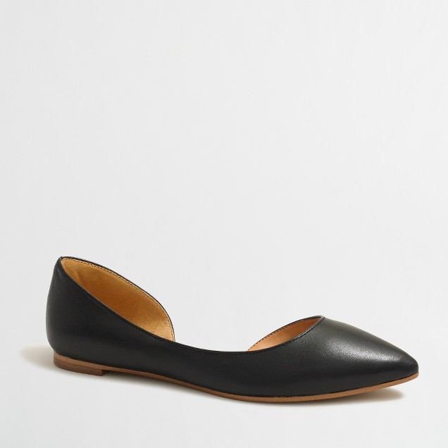 Classic d'Orsay flats in leather
