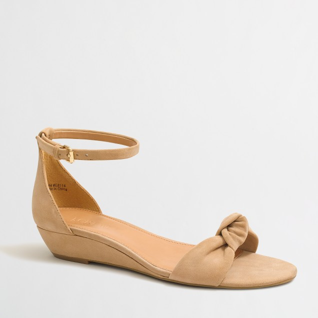 Suede demi-wedge sandals with top knot