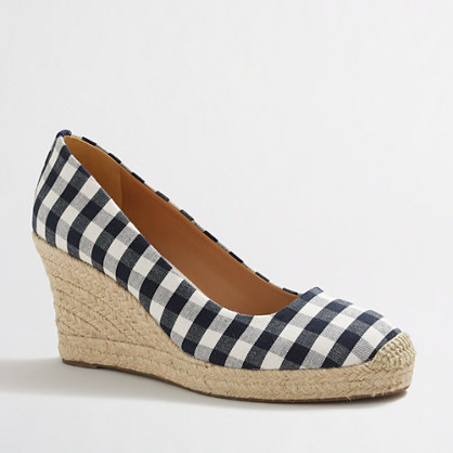 Gingham espadrille wedges