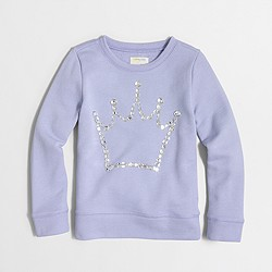 Factory girls' jeweled crown sweatshirt