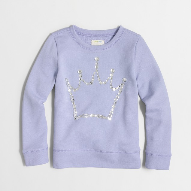 Girls' jeweled crown sweatshirt