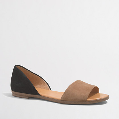 Suede peep-toe d'Orsay flats